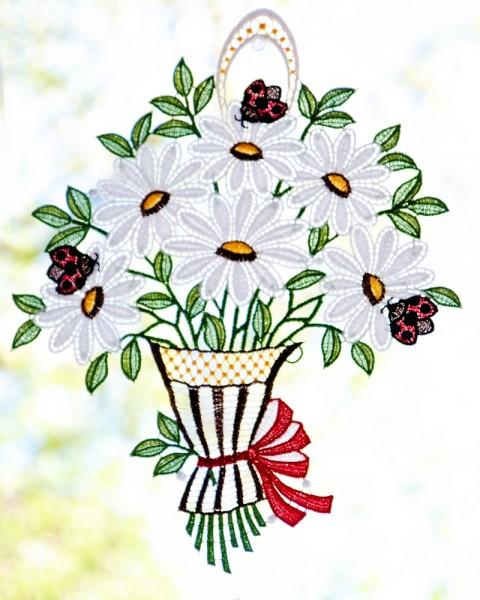 Fensterbild Blumenstrauß Margeriten