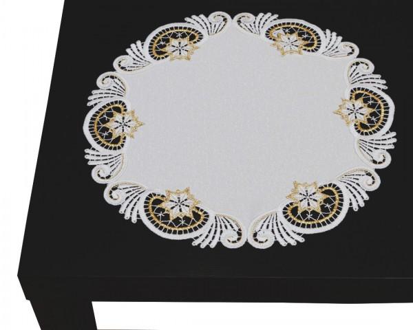 runde Tischdecke Weihnachtwelt gold /weiß