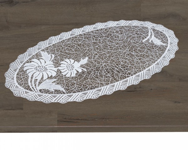 ovaler Tischläufer Antonia mit Blütenapplikation