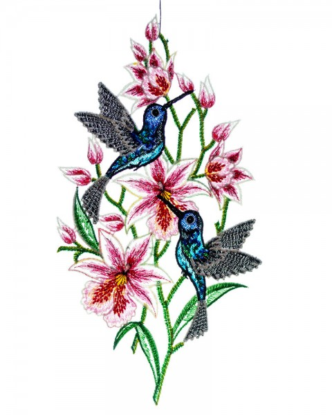 Fensterbild Kolibri mit Orchideen