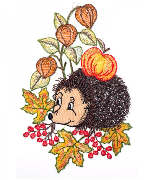 Fensterbild Igel mit Apfel