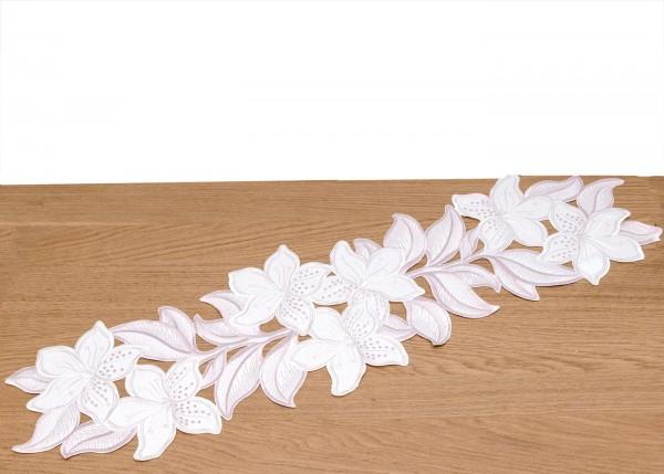 Tischband Blütenaufleger Lilienranke ca.22x 80 cm weiß