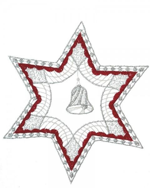 Fensterbild Glocke im Stern rot/silber