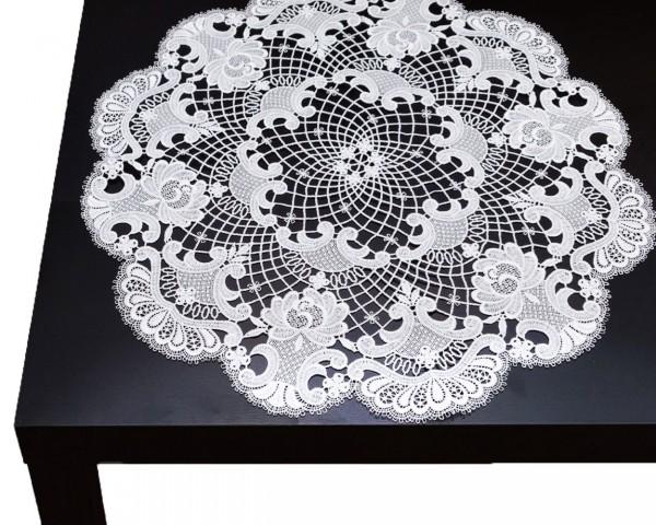 runde Tischdecke Carmen aus purer Spitze 55 cm