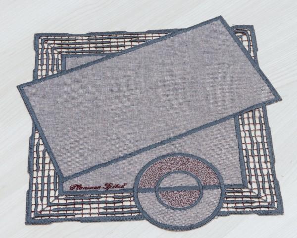 Deckchen 28x28 cm rot/taupe oder beige/braun