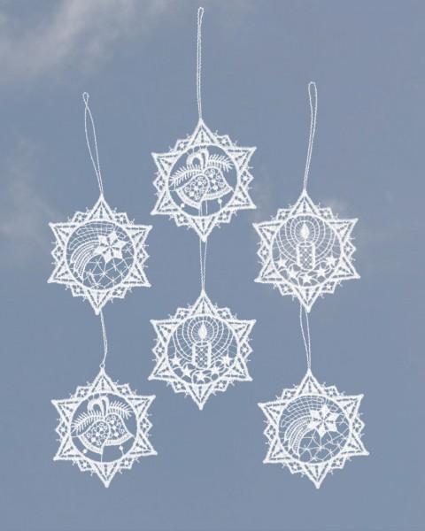 Baumbehang sechs Sterne in weiß