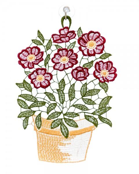 Fensterbild Sommerblume Blumentopf