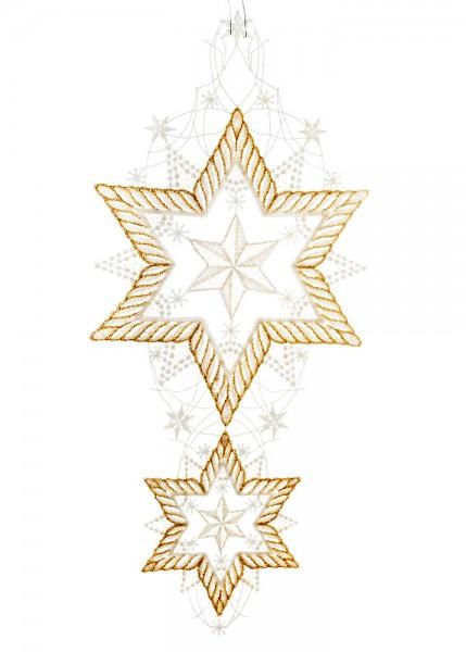 Fensterbild Weihnachten zwei Sterne untereinander gold/weiß