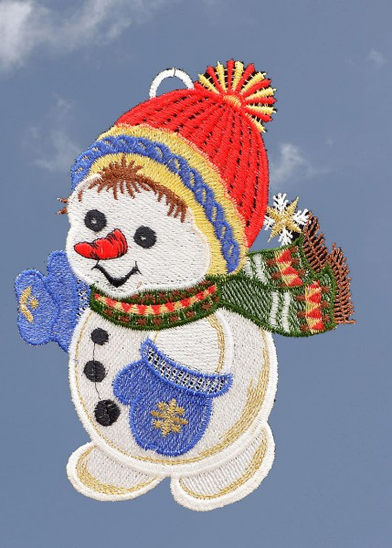 Fensterbild lustiger Schneemann