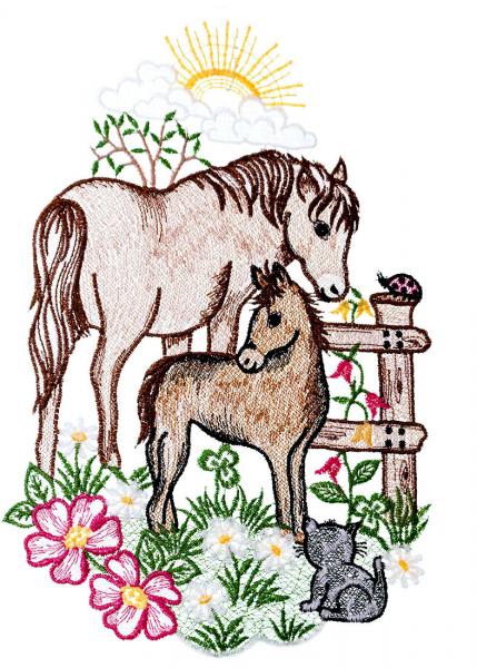 farbiges Fensterbild Plauener Spitze zwei Pferde