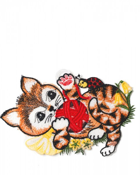 Fensterbild Katze liegend mit Wollknäuel