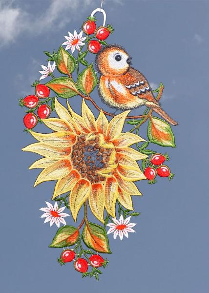 Fensterbild Sonnenblume mit Vögelchen