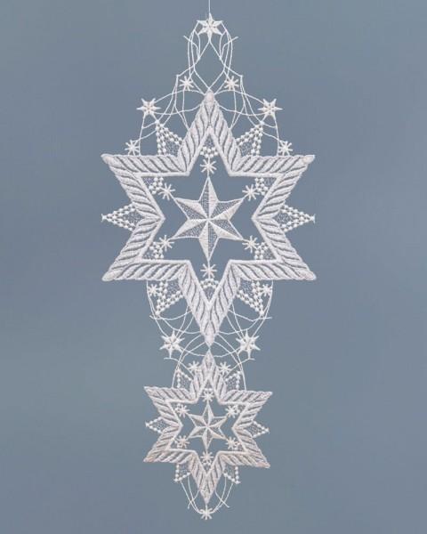 Fensterbild Weihnachten zwei Sterne untereinander silber/weiß