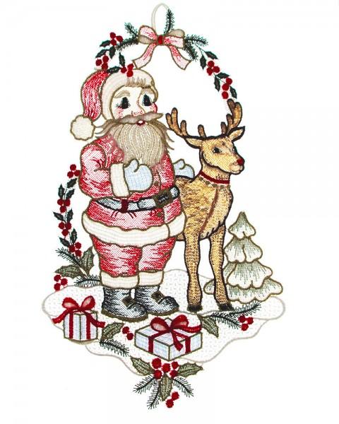 Fensterbild Weihnachtsmann mit Elch