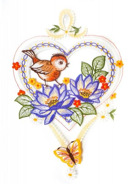 Fensterbild Frühlingsgruß Herz Vogel mit Blumen