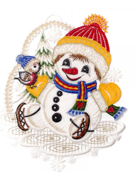 Fensterbild Schneemann mit Schlittschuhen