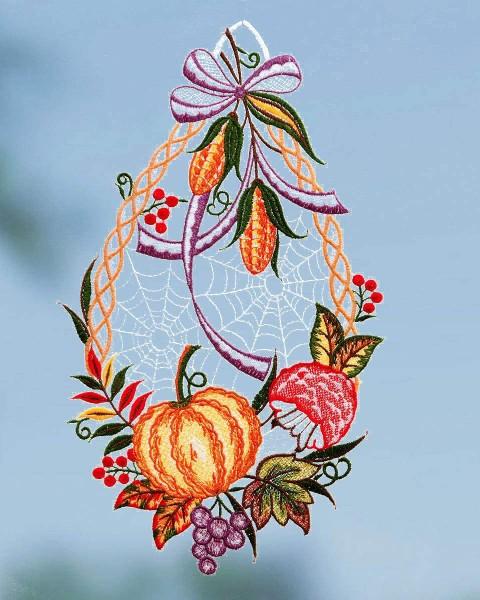 Fensterbild Herbstfrüchte mit Spinnennetz