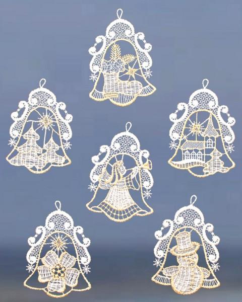 Baumbehang Glocken 6 Stück gold/ecru