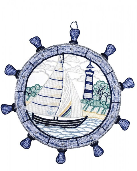 maritimes Fensterbild Segelboot im Steuerrad