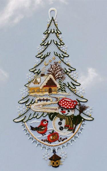 Fensterbild Winterlandschaft mit Schneemann