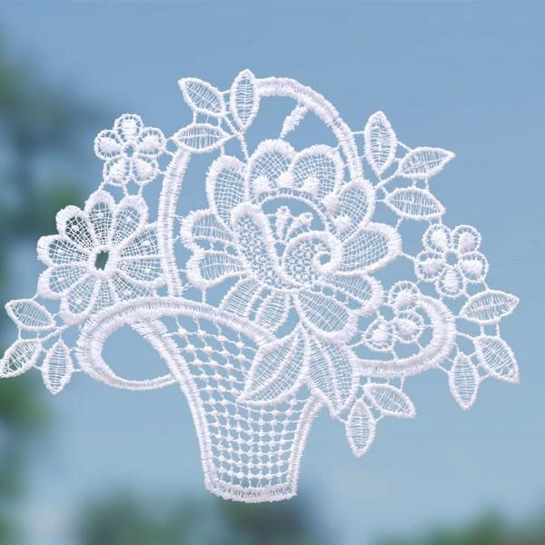 Fensterbild Blumenkorb weiß