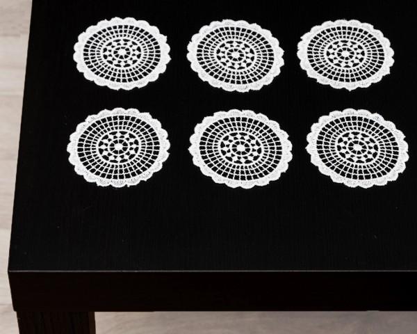 sechs Untersetzer Gläserdeckchen aus Spitze 8 cm rund