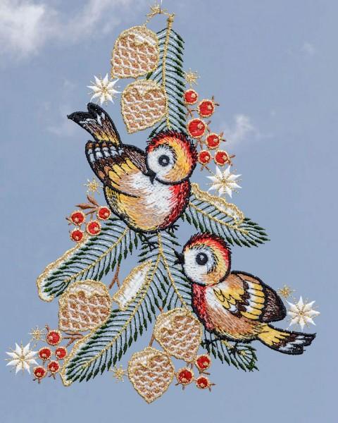Fensterbild zwei Vögel am Tannenzweig