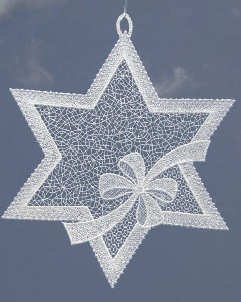 Fensterbild Stern mit Schleife