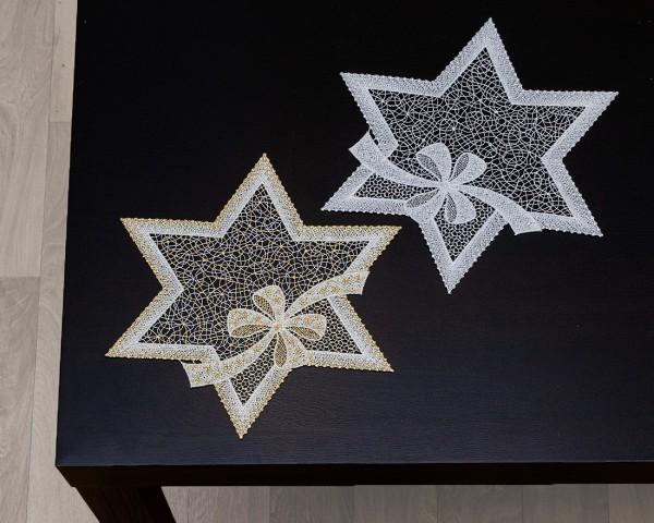 Tischwäsche Stern mit Schleife aus purer Spitze