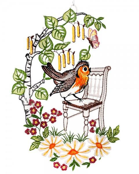 Fensterbild Vogel unter der Weide