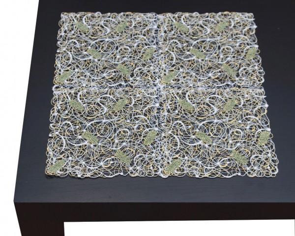 Deckchen Tannenduft grün/gold 30x30 cm