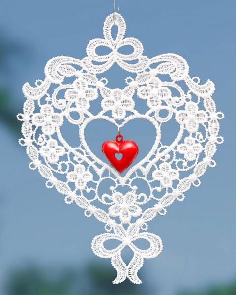 Fensterbild Herz mit rotem Metallherz