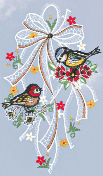Fensterbild zwei zwei Vögel