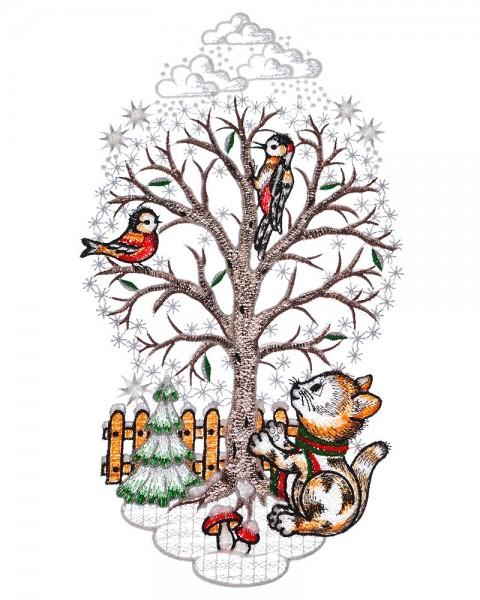 Fensterbild Winter Baum mit Kätzchen