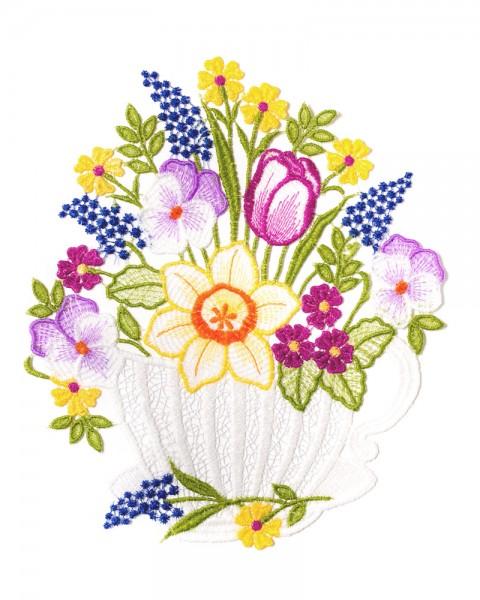 Fensterbild Tasse mit Blumenstrauß