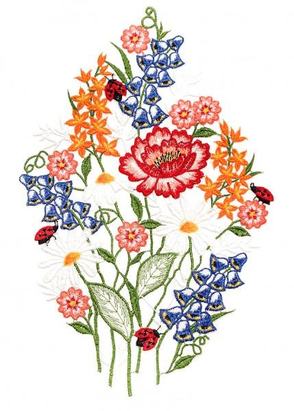 farboíges Fensterbild Blumenstrauss Glockenblume, Hyazinthe