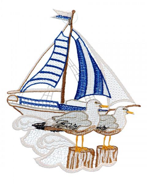 maritimes Fensterbild Segelschiff mit Möwe