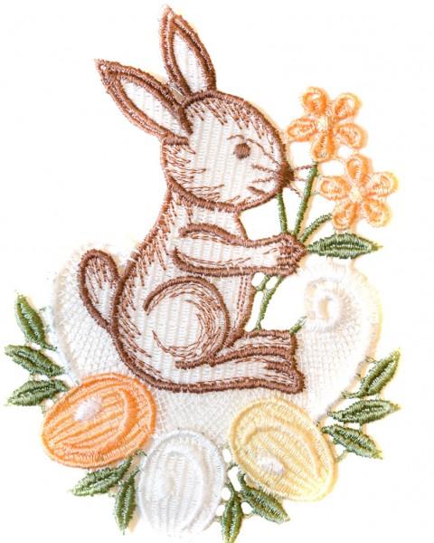 Fensterbild klein Hase oder Ei orange