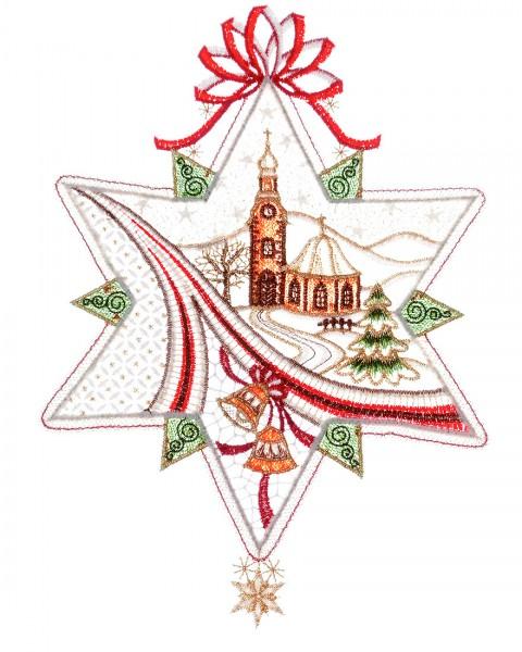 Fensterbild Weihnachten Stern mit Landschaft