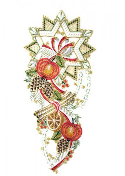 Fensterbild Weihnachten Stern mit Äpfeln