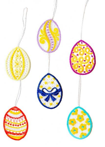 Strauchbehang Ostern 6 Stück farbig