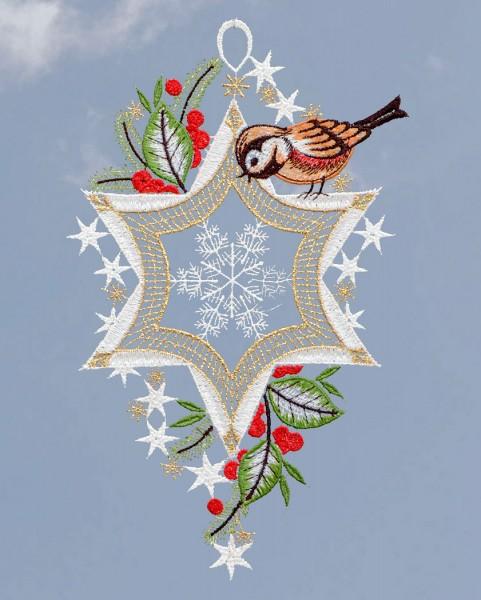 weihnachtliches Fensterbild Vöglein am Stern