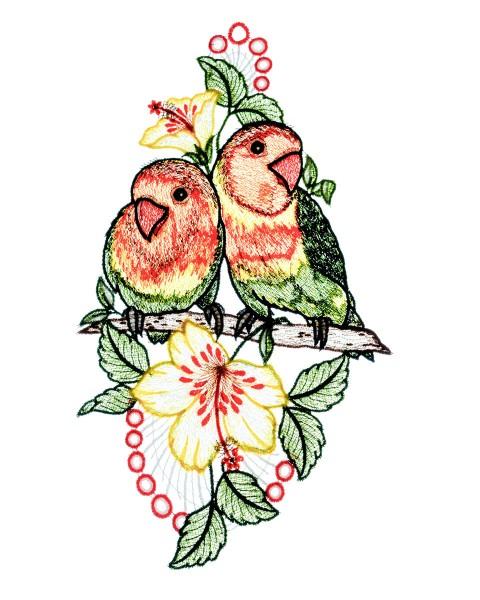 Fensterbild zwei Papageien