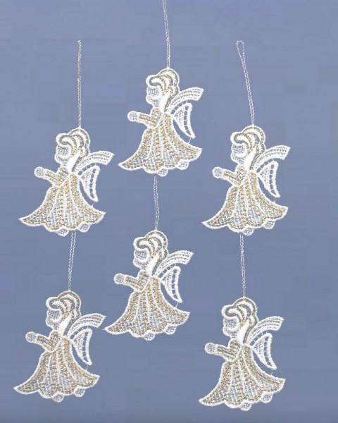 Baumbehang Engel weiß/gold 6 Stück