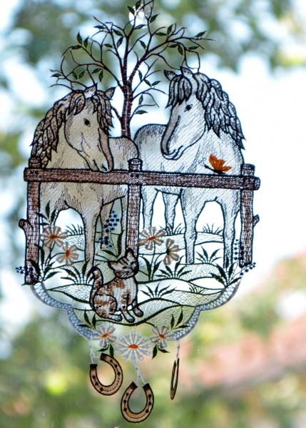 Fensterbild Pferd Pferdekoppel