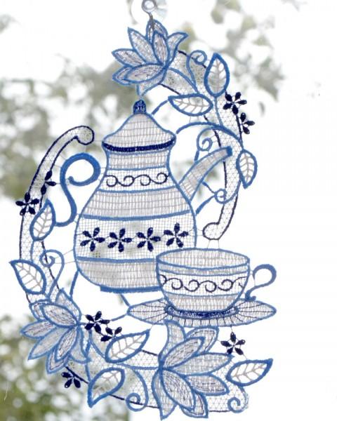 Fensterbild Kaffeekanne blau