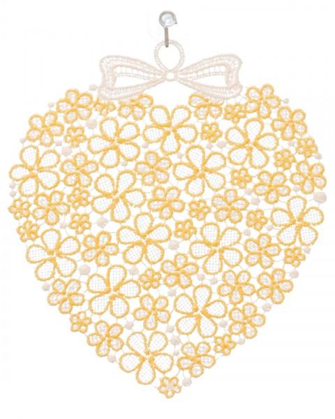 Fensterbild Herz aus zarten Blüten gelb/weiß