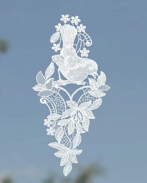 Fensterbild Blumen mit Vogel weiß