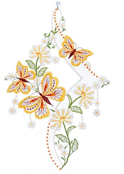 Fensterbild Schmetterling mit Blütenranke